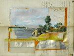 14 au bord du Nil - pastel sur manuscrit - 27x20 (2016)