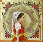 18 la fillette en rouge - pastel sur journal - 29x29 (2016)