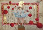 09-danseuses-turquoises-31x21-pastel-et-feuilles-d-or-sur-manuscrit-2018