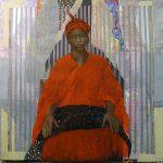 14-La-Femme-en-rouge-120x120-collage-et-pastel-sur-toile-2015